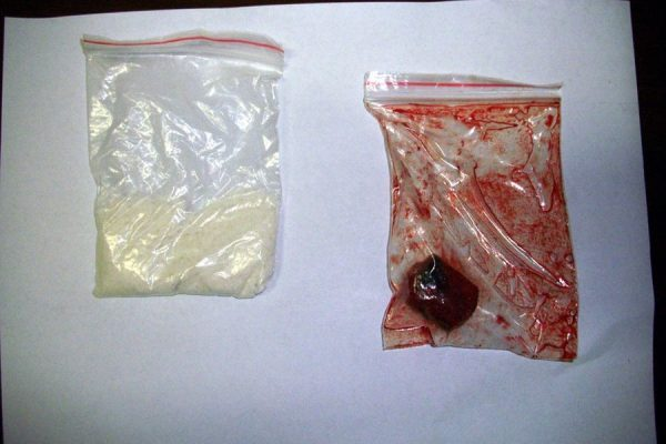 A bag of alum and a bag containing a sponge soaked with pigeon blood used by the girls to fake virginity.
