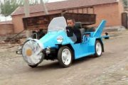 "Chinese ""peasant"" (rural resident) builds himself a ""wind-powered"" electric car."