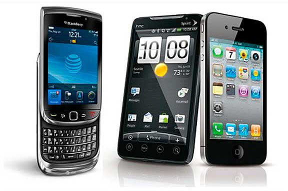 Blackberry vs. HTC vs. Apple iPhone.