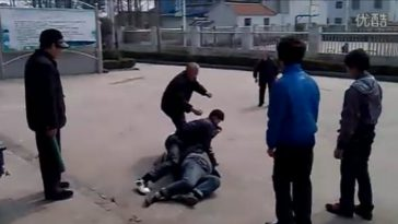 Chinese teenagers get into a fight with the elderly at a nursing home in Jiangsu province.