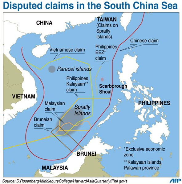Map of disputed claims in the South China Sea by various countries including China, Vietnam, Brunei, and the Philippines.