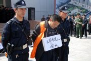 A criminal suspect is paraded in public with a sign around his neck showing his name and crime.