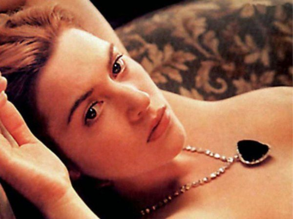 Kate Winslet's Rose being drawn by Leonardo DiCaprio's Jack in James Cameron's Titanic.
