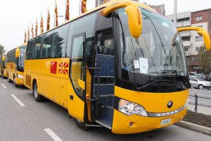 One of 23 Chinese-made school bus donated to Macedonia by China.