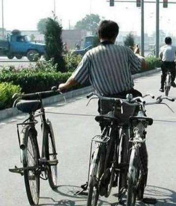 riding three bikes