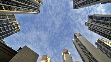 Residential high-rises in China towering into the sky.