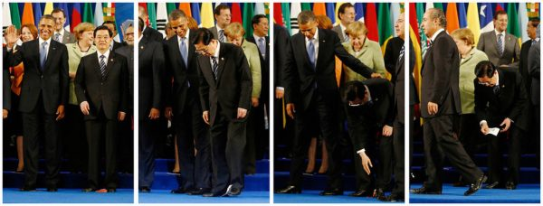 Hu Jintao picking up the flag frame by frame