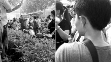 Photographs of a fight between a Chinese girl and a male foreign national in Nanjing following a minor traffic accident.