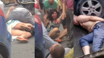 Extremely drunk Chinese man attacks woman in Wenzhou province of China, biting at her face.
