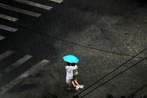 The heaviest rainstorm in 61 years flooded Beijing in July 2012.
