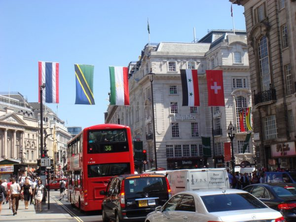 The Taiwanese flag missing in Piccadilly Circus for the London Olympics after it was torn down.