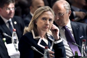 "U.S. Secretary of State Hillary Rodham Clinton listens during a meeting of the ""Friends of the Syrian People"" at the MFA Conference Center July 6, 2012 in Paris, France. (Getty)"