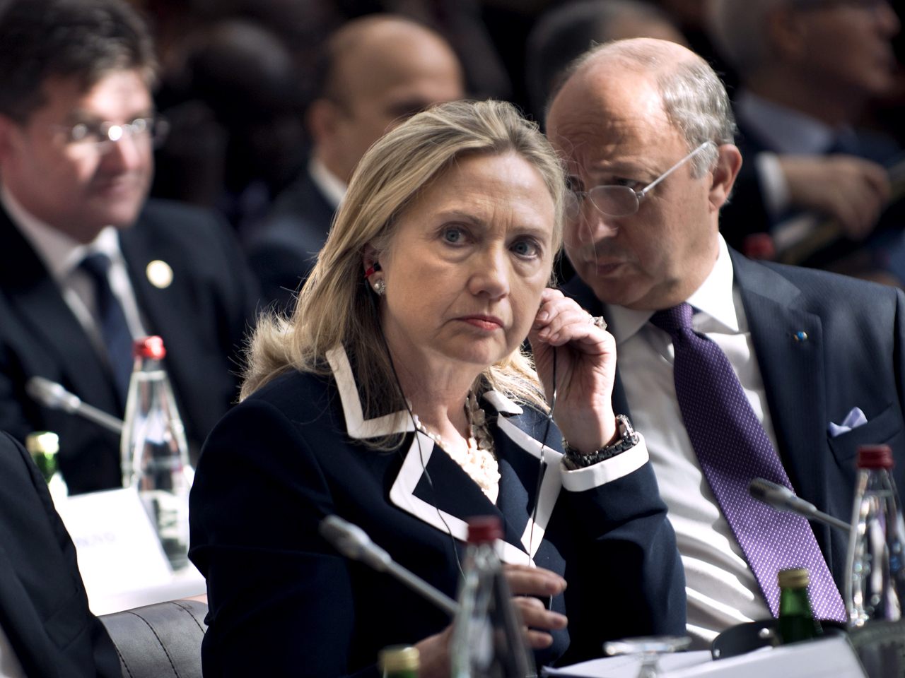 """U.S. Secretary of State Hillary Rodham Clinton listens during a meeting of the """"Friends of the Syrian People"""" at the MFA Conference Center July 6, 2012 in Paris, France. (Getty)"""