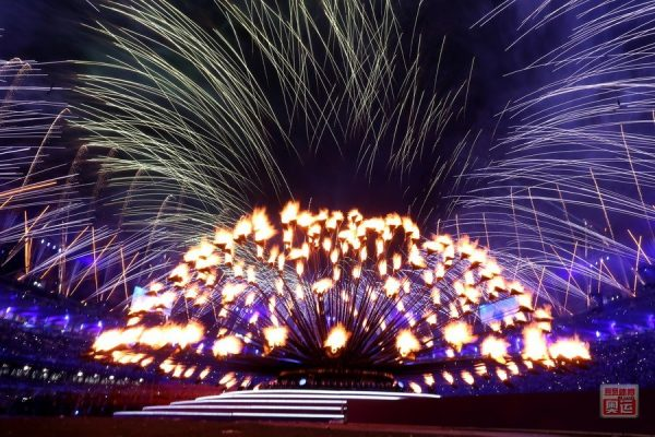 Fireworks over the Olympic Stadium at the closing ceremony of the 2012 London Olympics.