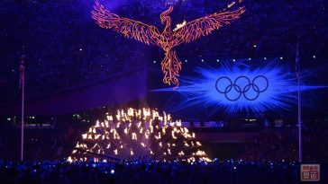 Flaming bird, 2012 London Olympics Closing Ceremony.