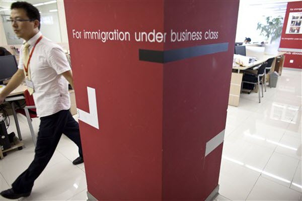 Inside a Beijing immigration consulting company.