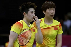 Badminton Women's Doubles China team Yu Yang and Wang Xiaoli.