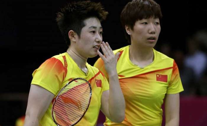Badminton Women's Doubles China team Yu Yang and Wang Xiaoli.