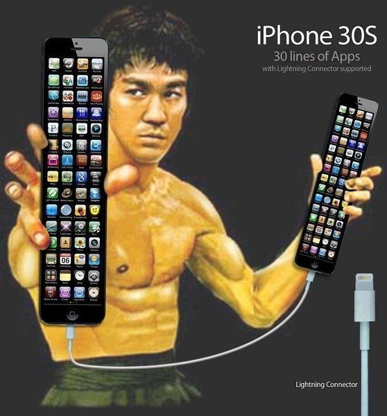 iPhone 30S like nunchucks in Bruce Lee's hands.