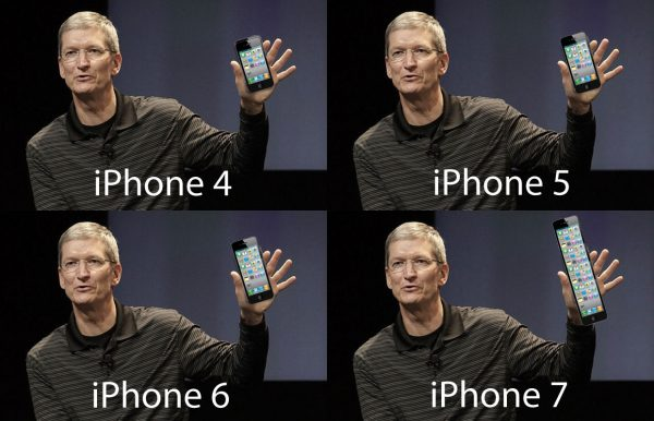 Apple iPhone 5, 6, 7, 8 with Tim Cook.