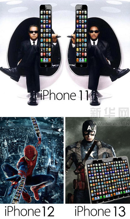 Xinhua Apple iPhone photoshops, featuring iPhone 11 Men in Black, iphone 12 Spiderman, iPhone13 Captain America.