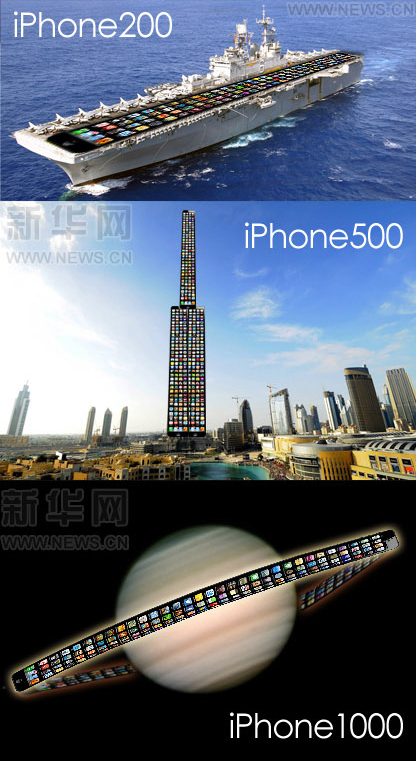 Xinhua Apple iPhone photoshops, featuring iPhone 200 aircraft carrier, iPhone 500 skyscraper, iPhone 1000 Saturn.
