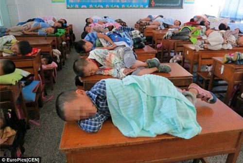 Elementary Students Taking A Nap On Their Classroom Desks