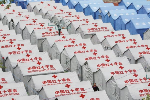 Relief tents provided by the Red Cross Society of China.