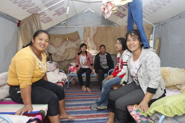 Refugees living in the tent.