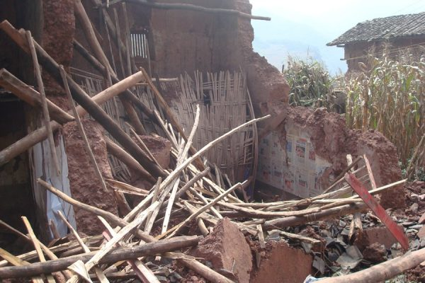 A house collapsed in the landslide.