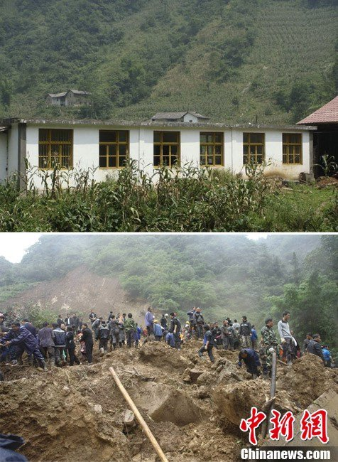 Before and after the elementary school is buried in Yunnan Yiliang landslide.