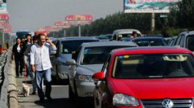 people walking dogs during national day traffic jams