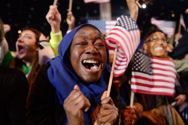 Supporters cheer as Barack Obama re-elected for a second term as President of the United States of America in 2012.