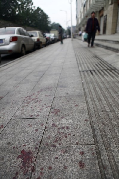 The street is covered by blood.