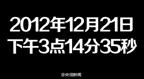CCTV News says the Apocalpyse for China will occur at 2012 December 21st at 3:14:35pm.
