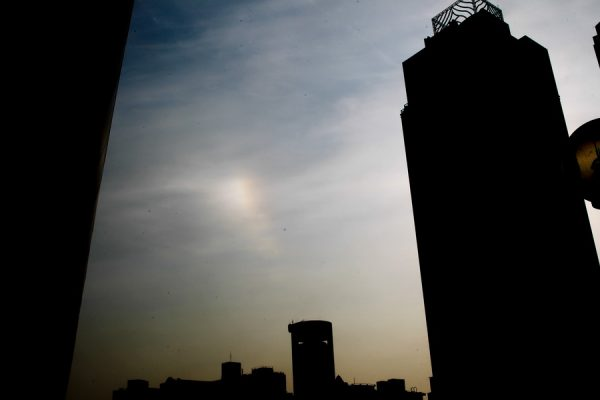 The solar halo in the sky.