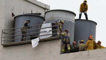 Water tanks atop of the Cecil Hotel in Los Angeles where Chinese-Canadian Elisa Lam's body was found following her disappearance.