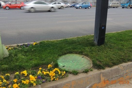Manhole Stained Green By Grass Paint