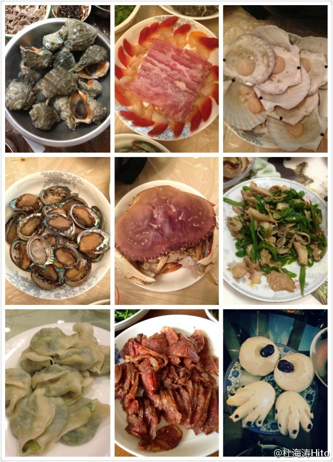 Food made of or with chickens, ducks, fishes, and pigs for the Chinese New Year.
