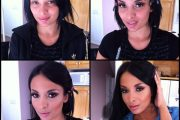 Anissa Kate, porn actress, before and after makeup comparison photo.