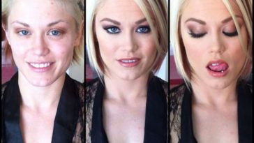 Ash Hollywood, porn actress, before and after makeup comparison photo.