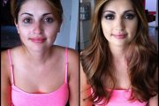 Natasha Malkova, porn actress, before and after makeup comparison photo.