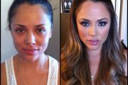Kristina Rose, porn actress, before and after makeup comparison photo.