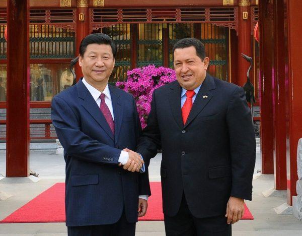 2009 April 9, Beijing: Xi Jinping meets Venezuelan President Chávez at the Diaoyutai State Guesthouse. Photo credit: Xinhua reporter Li Tao