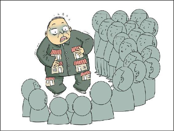 A Chinese political cartoon showing a crowd (the public) surrounds a man with multiple houses.