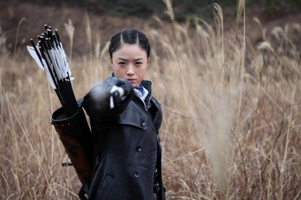 The Chinese heroine in a TV series uses bow and arrow to dispatch enemies.