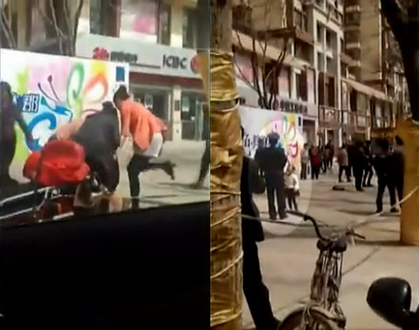 Four Chinese women publicly attack a mistress, stripping her of her clothes and throwing feces on her, while bystanders look on, in Lanzhou, China. The mistress's daughter is crying in front of a security guard.