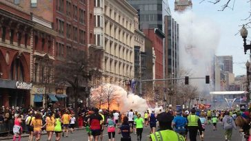 Explosion near the finish line of the 2013 Boston Marathon from a terrorist attack.