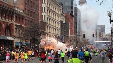 Explosion near the finish line of the 2013 Boston Marathon from a terrorist attack.
