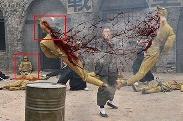 Chinese martial artist splits an Imperial Japanese soldier in half with his bare hands in a Chinese TV historical war drama series.